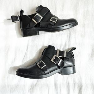 ZARA Black Leather Buckle Booties Size 8